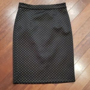 Black & silver studded pencil skirt
